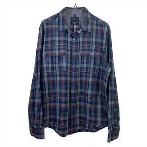 Calvin Klein Mens Plaided Button Down Shirt Sz L